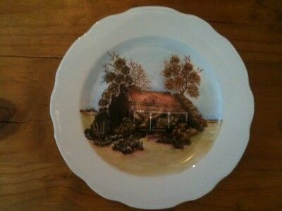 """Hand Painted 10"""" Plate By Hilda Hicks 1982 Depicting Canowindra Nsw Cottage"""