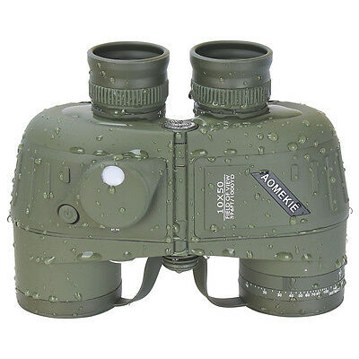 10X50 Military Marine Binoculars BAK4 Fully Multi-Coated Prism Waterproof Green