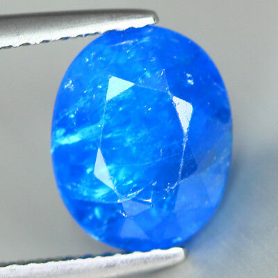 2.730 Ct Unusual Royal Neon Blue Color 100% Natural Apatite Cut!! Rare To Find!!