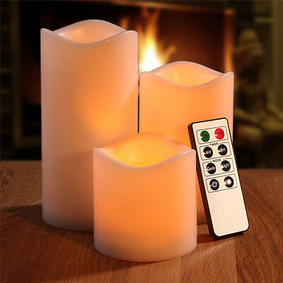 3 Pcs Amber Wax LED Timer Candle Lights Flameless Battery Operated Mood Candles