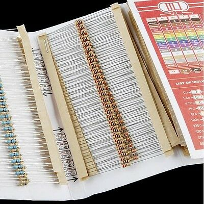 Resistor Kit - 1/4W (500 total) Sparkfun COM-10969 with resistor chart