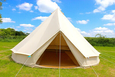 100% Cotton Canvas Teepee/Tipi Bell Tent, Large Family Camping 8 Man Tents