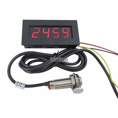 4 Digital Red LED Tachometer RPM Speed Meter Hall Proximity  NPN Switch Sensor