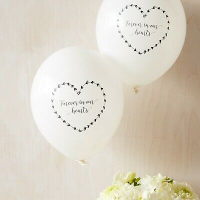 Angel & Dove 10 White 'Forever In Our Hearts' Biodegradable Funeral Balloons