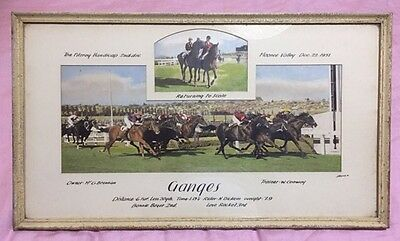Antique Horse Racing Photo Hand Painted Moone Valley 1951