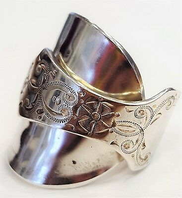 Solid 925 sterling silver hallmarked antique 1905 spoon ring SIZE P Q R S T