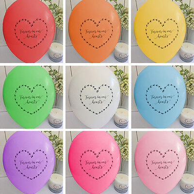 10 Rainbow 'Forever In Our Hearts' Funeral Remembrance Condolence Balloons