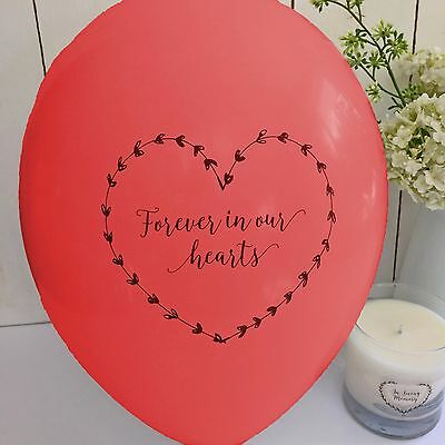 10 Red 'Forever In Our Hearts' Funeral Remembrance Condolence Balloons