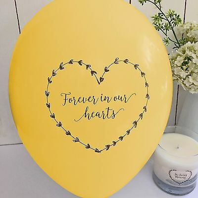 10 Yellow 'Forever In Our Hearts' Funeral Remembrance Condolence Balloons