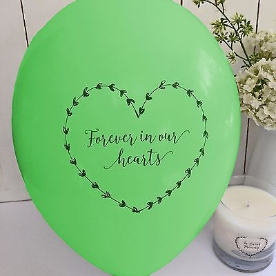 10 Green 'Forever In Our Hearts' Funeral Remembrance Condolence Balloons