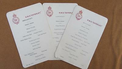 1915 Rare 3 Menus from R.M.S. Osterley Orient Line of Royal Mail Steamers Octobe