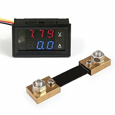 DEOK Digital Voltmeter Ammeter DC 4.5-30V 100A Red Blue LED+Current Shunt Dual
