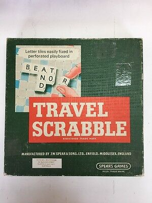 VINTAGE 1960s TRAVEL SCRABBLE Spear's Games - Made In England - Rare