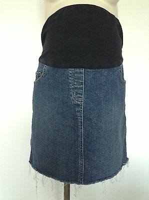 [208] Cocoon Maternity Blue Mini Denim Skirt Size 14 Fits Over Your Bump
