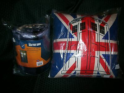 Collectible BBC Doctor Who Tardis Throw Blanket and Union Jack Pillow Cushion