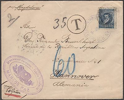 Argentina Marcos Paiz Superb Taxed Cover W/ Character To Hannover Germany - Rare
