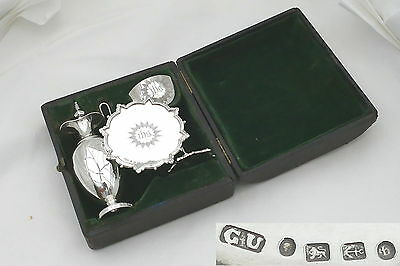 Rare Victorian Hm Sterling Silver Travelling Communion Set 1882