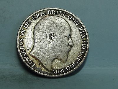 Edward Vii  Silver Sixpence Coin Dated 1902