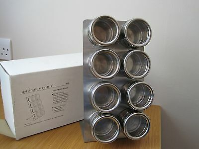 Boxed magnetic spice rack in stainless steel, with 8 SS spice shakers.