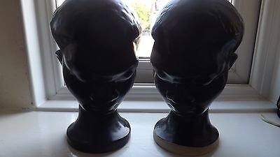 Dartmouth Pottery Devon TWO AFRICAN HEADS IN BLACK