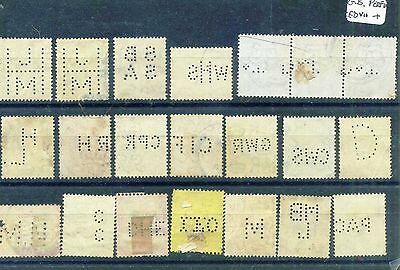 GB perfin stamps EdVII to Geo VI