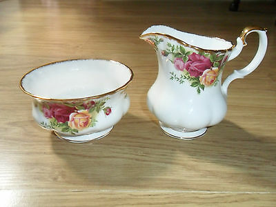 "Royal Albert Old Country Roses Milk/cream Jug & Sugar Bowl"" 1,st Q, 1962"""