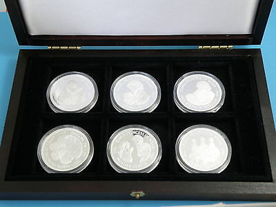 LIBERIA - SIX x 1997 SILVER PROOF $20 CROWN COINS - Life of PRINCESS DIANA