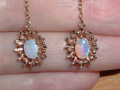 Fine Vintage 9ct Gold Solid Opal Drop Earrings