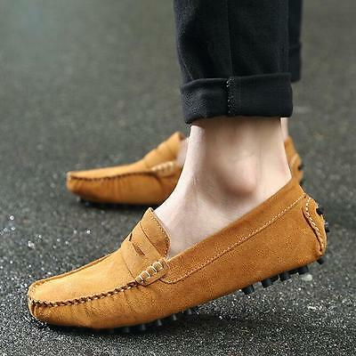 Men's Driving Casual Boat Shoes Suede Leather Shoes Moccasin Slip On Loafers 10