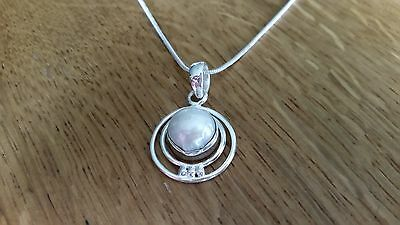 Unusual Freshwater Pearl Sterling Silver 925 Pendant Necklace handmade