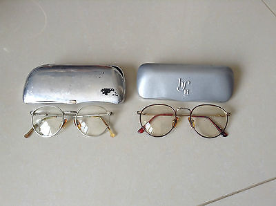 Vintage Reading Glasses..lot Of Two Pairs..with Glass Cases.