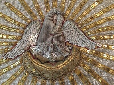 19th ANTIQUE FRENCH RELIGIOUS GOLD METALLIC HAND EMBROIDERED STUMPWORK PELICAN 1