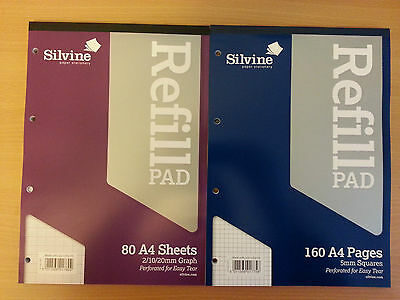 A4 SilvineRefill Pads Ruled Graph/5mm Square Ruled/Plan and Ruled Feint & Margin