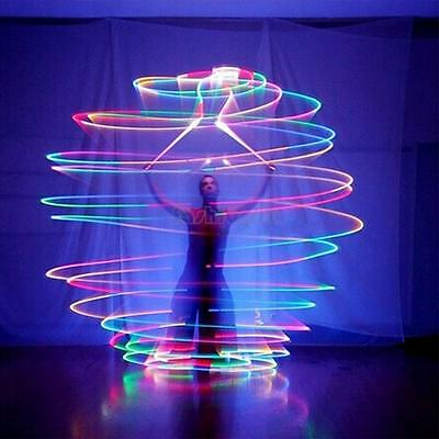1 Pair Led Glow In The Dark Light Poi Balls Festival Camping Rave Fancy Dress