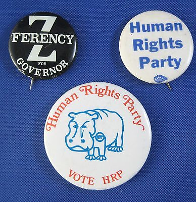 Vintage 1970s Human Rights Party Pinback Buttons Pins Zolton Ferency Ann Arbor