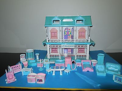 Plastic Doll House With  Furniture, Vgc