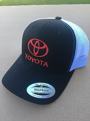 TOYOTA Baseball Cap Hat Adjustable Black/White Red Embroidery Snapback NEW