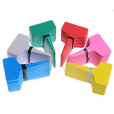 100pcs T-type Plastic Plant Flower Stake Tags Markers Garden Labels Stick Decor