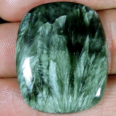 36.25cts NATURAL LOVELY DESIGNER GREEN SERAPHINITE CUSHION CABOCHON TOP GEMSTONE