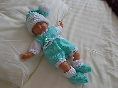 BEAUTIFUL  HAND KNITTED CLOTHES ROMPER SET TO FIT 16in DOLL OR REBORN DOLL