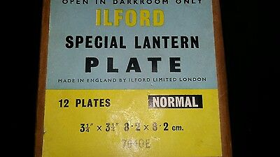 Vintage Ilford special lantern plate. Unopened package 12 magic lantern plates.