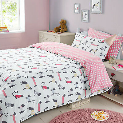 Childrens Duvet Cover with Pillowcase Bedding Set Cat & Dog Animal Print Spots
