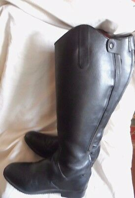 LADIES TALL BLACK LEATHER RIDING BOOTS SIZE 6/39 EX WIDE BY EQ vvs