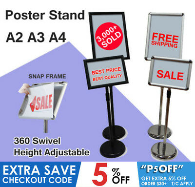 New Shop Sign Holder Poster Floor Stand Display snap board Pedestal  A2 A3 A4