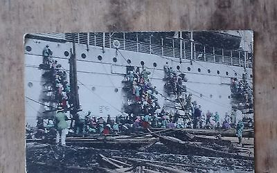 Coaling a Ship at Nagasaki, Japan  Org Postcard c1920 good conditio,
