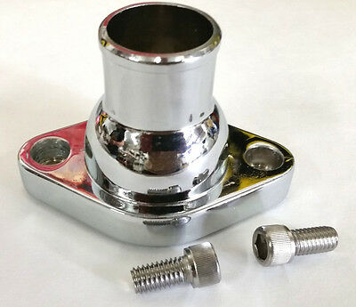 SBC BBC Chrome Water Neck Thermostat Housing Outlet Chevy Straight Up 350 - 454