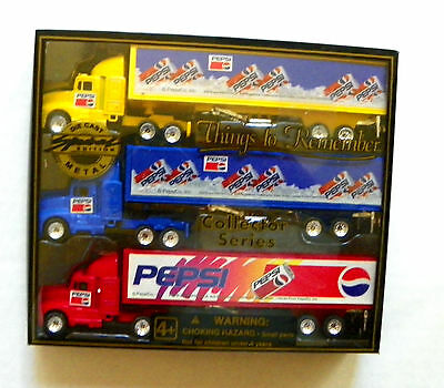 """1997 Golden Wheel """"pepsi-Cola ~ Things To Remember"""" Set Of 3 Tractor Trailer"""