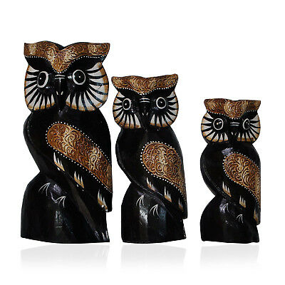 Decorative Wooden Set of 3 Owls (8, 6, 5 in)