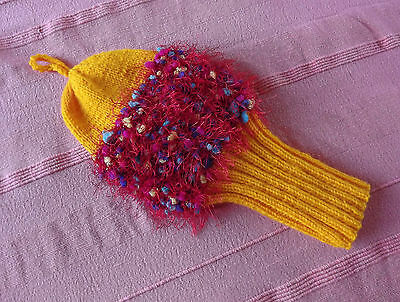 Hand knitted yellow golf club cover - NEW