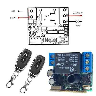 DC 12V 1CH 200M Wireless Remote Control Relay Switch 2 Transceiver + Receiver FT